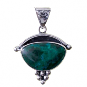 Handmade Chrysocolla and 925 Silver Pendant Indian Jewelry CAB114