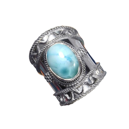Tribal 925 Sterling Silver Larimar Handmade Indian Ring CABR13