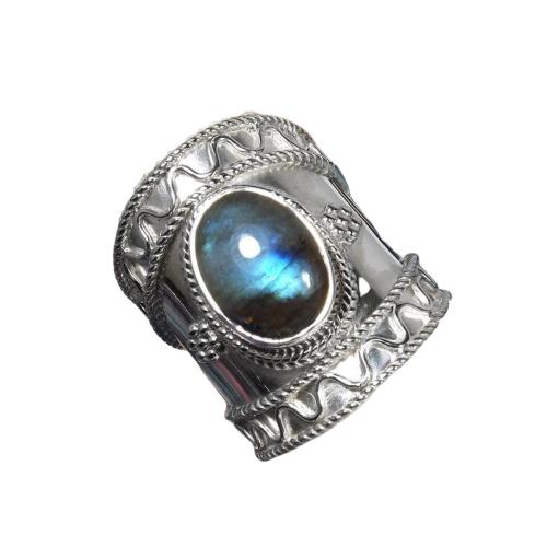 Tribal 925 Sterling Silver Labradorite Handmade Indian Ring CABR14