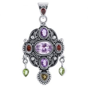 "Hot Seller Multi Gemstone 925 Silver Unique 2.5"" Pendant CABP131"
