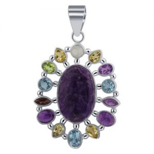"Multi Natural Gemstone 925 Sterling Silver 2"" Pendant CABP125"