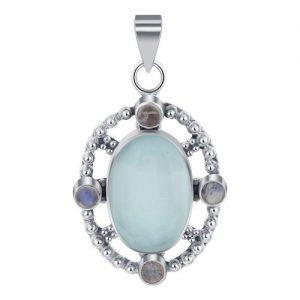 """925 Sterling Silver Chalcedony Stone Bali Design 2"""" Pendant CABP126"""
