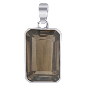 "Faceted Smoky Quartz Gemstone 925 Sterling Silver 2"" Pendant Cab122"