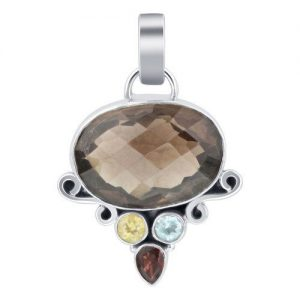 "Sterling Silver Oval Shape Smokey Quartz Gemstone 1.8"" Pendant CABP127"
