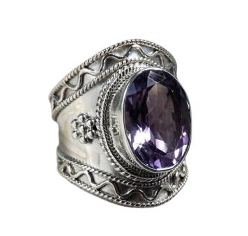 Tribal Style Amethyst Cut 925 Silver Gemstone Ring CABR8