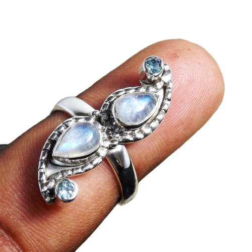 Rainbow Moonstone & Blue Topaz Handmade Gemstone 925 Silver Jewelery CABR1
