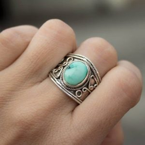 925 Sterling Silver Indian Wholesale Turquoise Ring CABR38