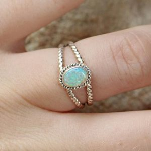 White Opal 925 Sterling Silver Handmade Wholesale Indian Ring CABR27