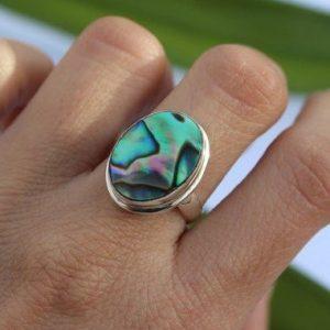 Modern Design Abalone Shell 925 Silver Ring