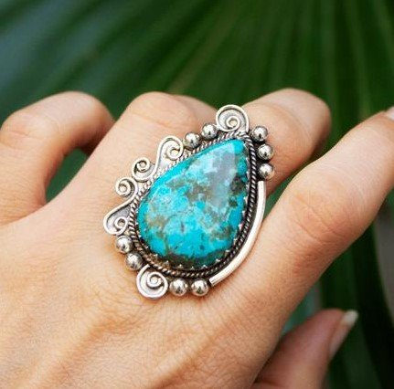 Detailed Natural Turquoise Indian 925 Silver Ring CABR34