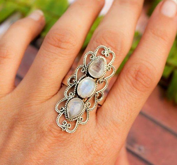 Cut Rainbow Moonstone Big 925 Silver Gemstone Ring CABR49