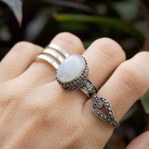 Rainbow Moonstone Handmade Filigree Art 925 Silver Ring CABR36