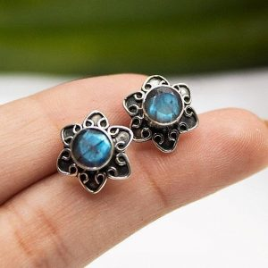 Sterling Silver Labradorite Round Gemstone 925 Earrings StudE12