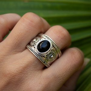 Black Onyx 925 Sterling Silver Ring Indian Jewelry CABR39
