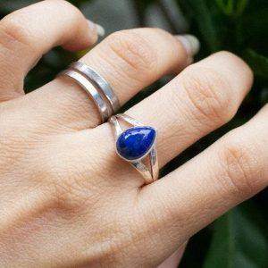 Lapis Lazuli Basic 925 Sterling Silver Ring Handmade Jewelry CABR41