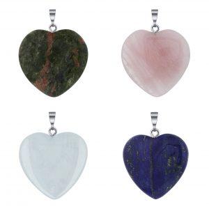 Gemstone Heart Shape Drilled Pendants CABP128