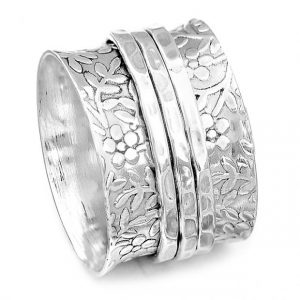 Floral Texture Spinner 925 Sterling Silver Ring