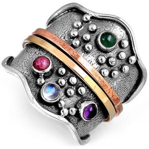 Multi Gemstone Spinner 925 Sterling Silver Ring
