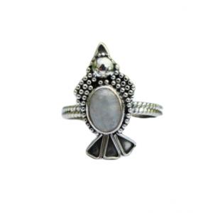 Rainbow Moonstone 925 Silver Ring