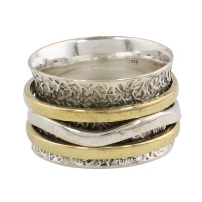 Indian Spinner Ring Crafted of Sterling Silver and Brass