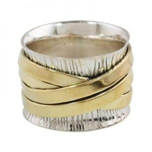 Bohemian Style Plain 925 Silver & Brass Handmade Band Ring