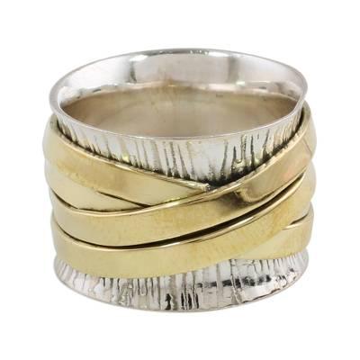 Bohemian Style Plain 925 Silver & Brass Handmade Band Ring