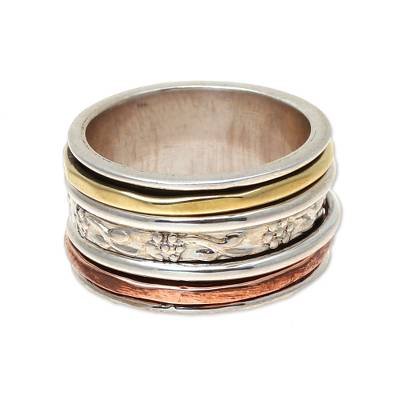 Floral Pattern 925 Sterling Silver Spinner Ring from India MR10