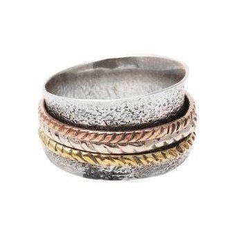 Textured 925 Sterling Silver Spinner Ring from India