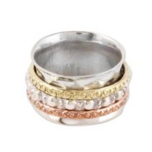 Textured 925 Sterling Silver Spinner Ring from India MR17