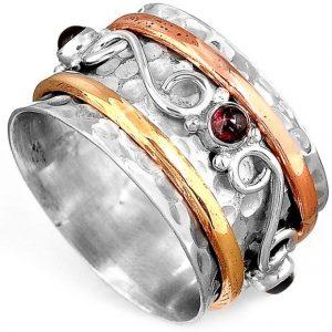 Natural Garnet Gemstone Spinner 925 Sterling Silver Ring