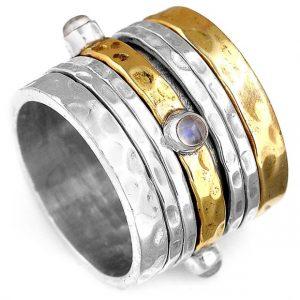 Natural Moonstone Gemstone Spinner 925 Sterling Silver Ring