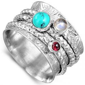 Multi Gemstone Meditation Spinner 925 Sterling Silver Ring