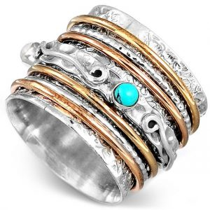 Turquoise Meditation Spinner 925 Sterling Silver Ring
