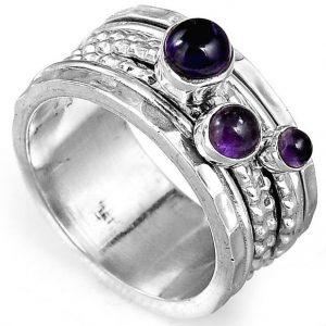 Amethyst Meditation Spinner 925 Sterling Silver Ring
