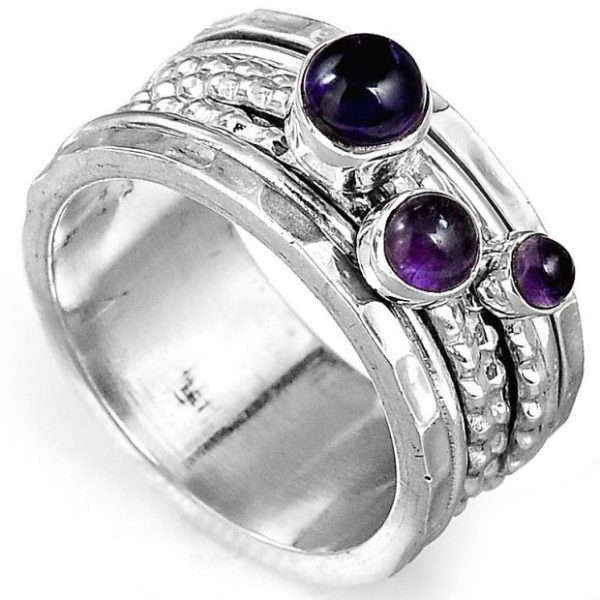 Amethyst Meditation Spinner 925 Sterling Silver Ring