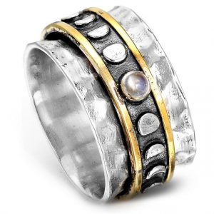Moon Phase Moonstone Sterling Silver Spinner Ring