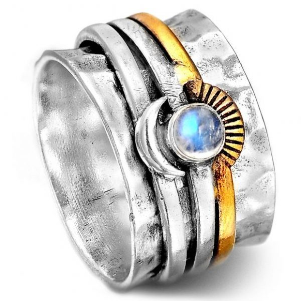 Sun and Moon Moonstone Spinner 925 Silver Ring