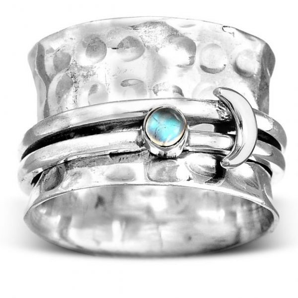 Crescent Moon Moonstone Sterling Silver Spinner Ring