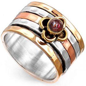 Garnet Meditation Spinner 925 Sterling Silver & Brass Ring
