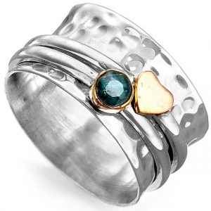 Natural Emerald Little Heart Sterling Silver Spinner Ring