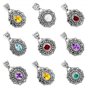 Wholesale 925 Silver Jewelry Natural Gemstone 100 Gram Pendant Lot WHP21